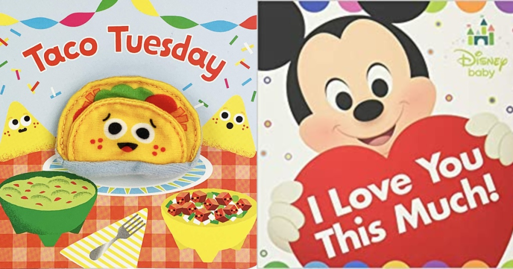 book covers of Disney I Love You This Much Book and Taco Tuesday Book