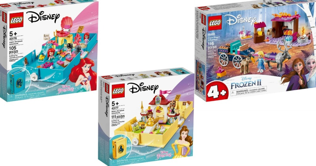 three boxes of Disney LEGO Sets