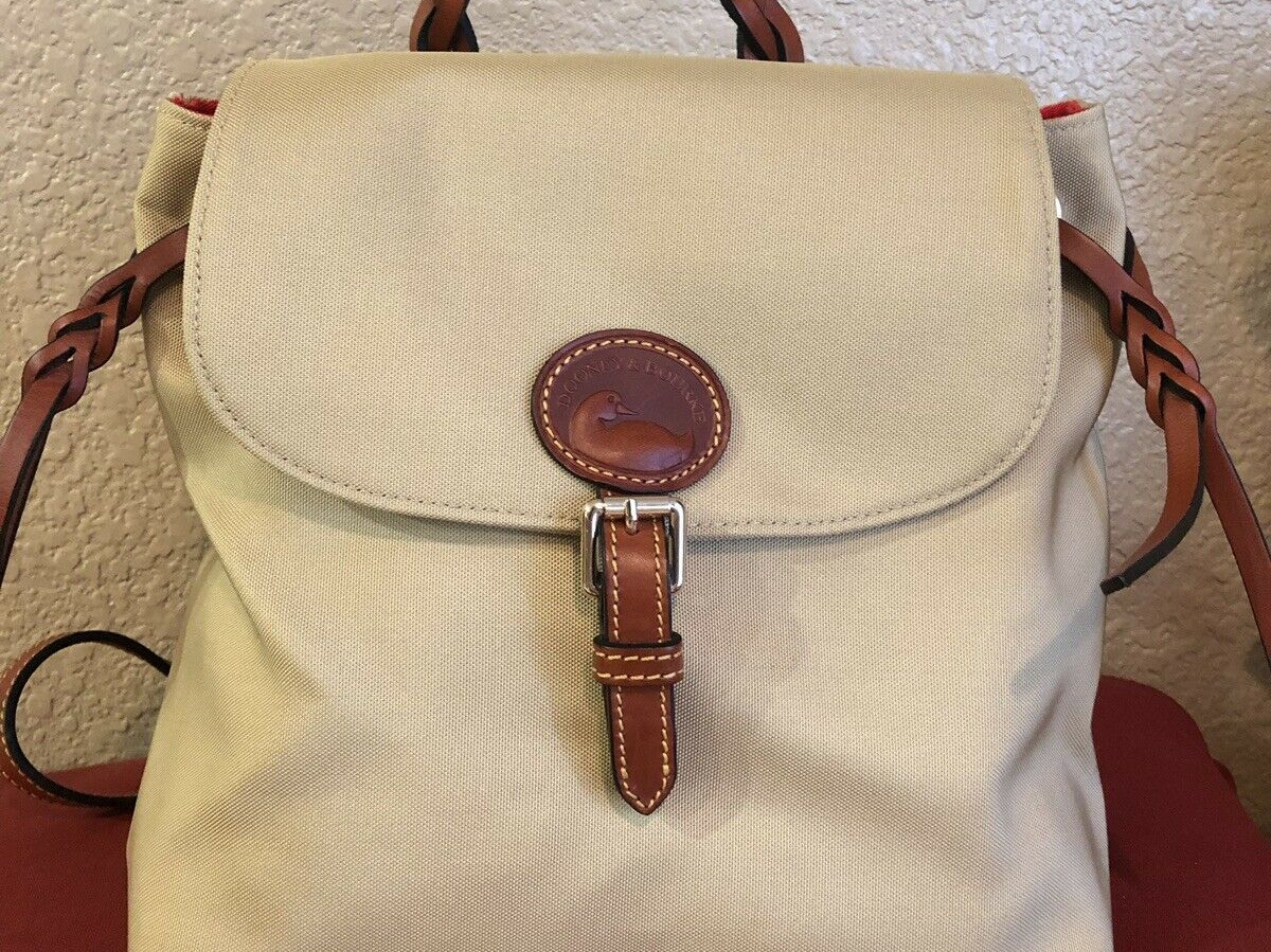 tan and brown backpack