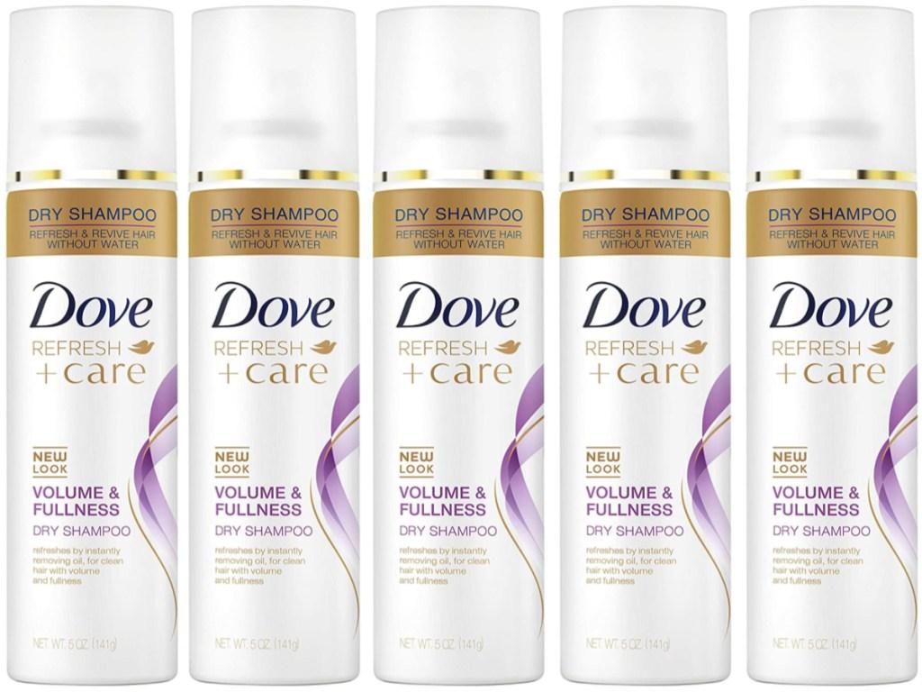 five bottles of dove dry shampoo