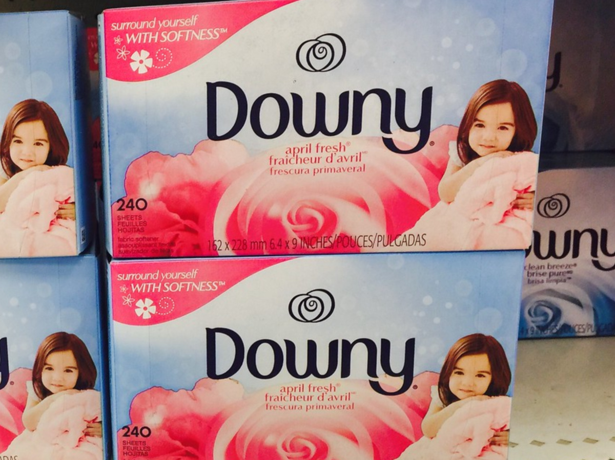 fabric dryer sheets in store in shelf in store