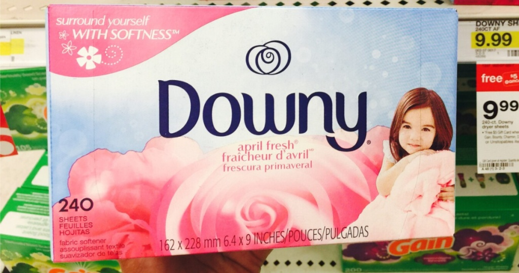 hand holding box of fabric dryer sheets in store
