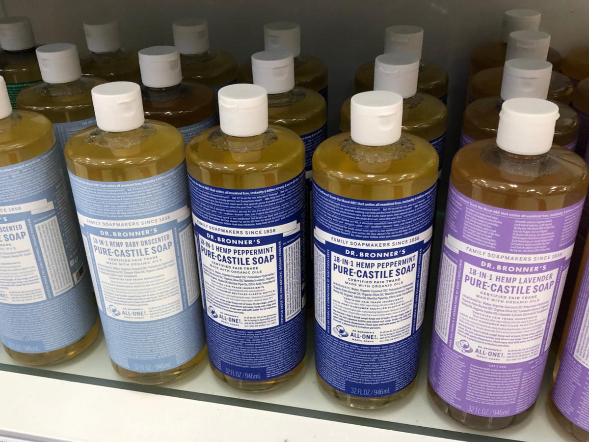 bottles of castile soap on store shelf