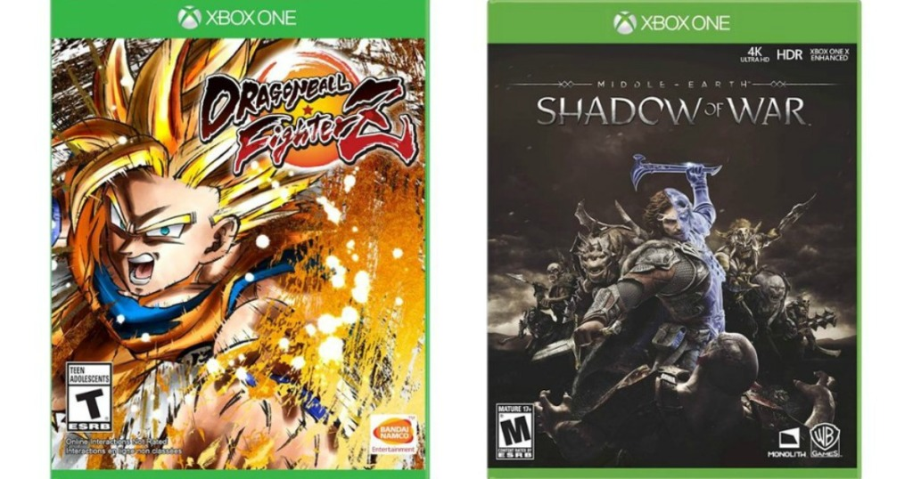 Dragonball Z and Shadow of War video game covers