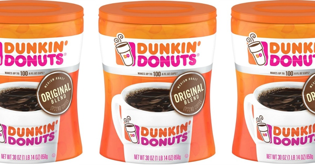 front view of dunkin' donuts coffee canisters