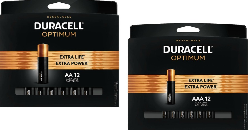 two packs of Duracell batteries