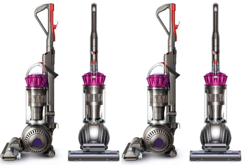 four grey and pink vacuum cleaners