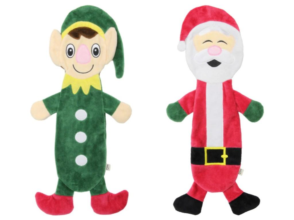 elf and santa plush dog toys