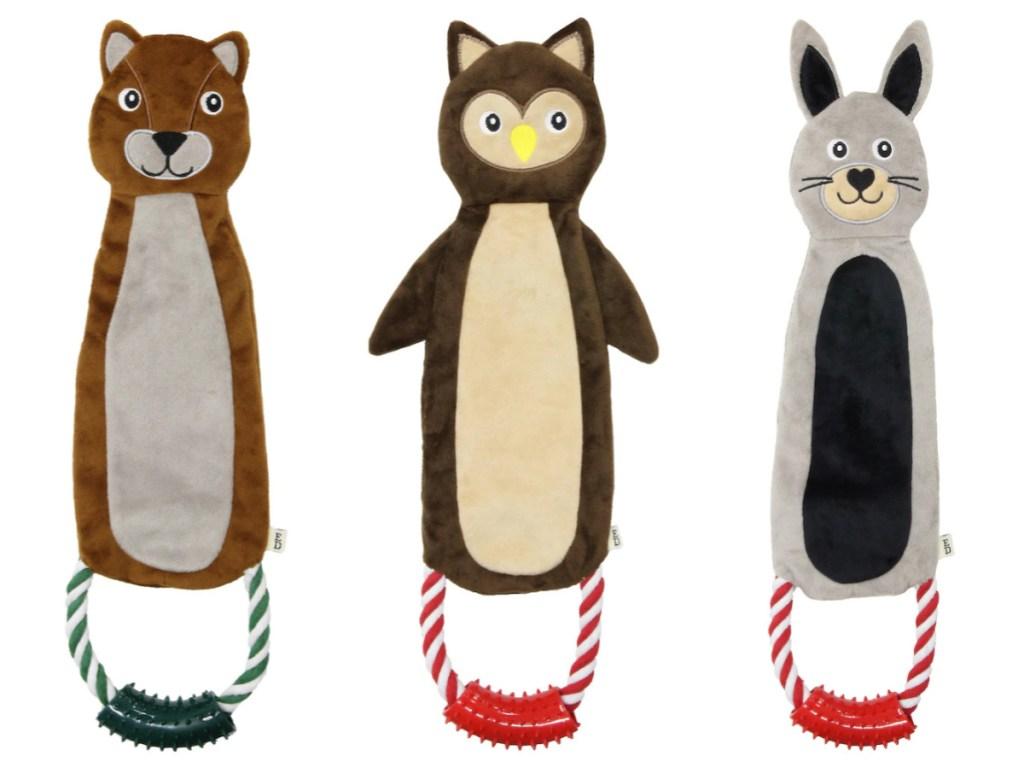gopher, owl, and rabbit plush dog toy