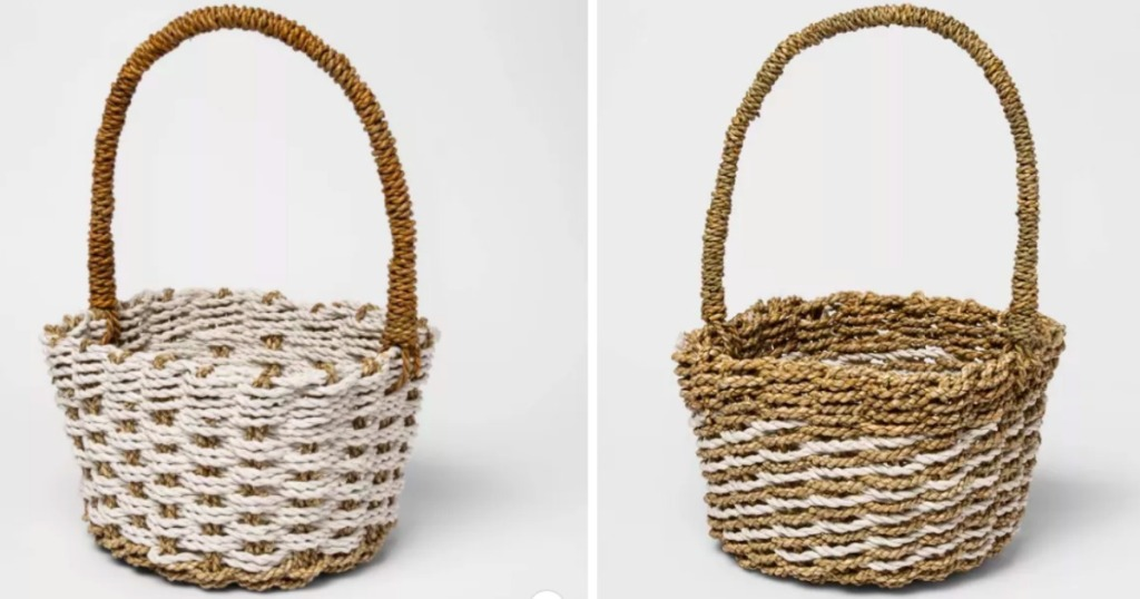 two easter baskets side by side