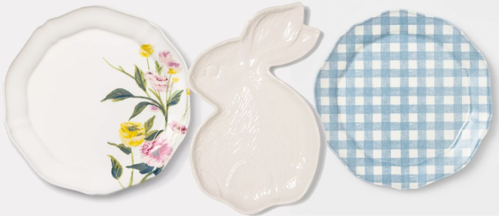 white plate with floral print, white bunny shaped plate, and white and blue checked plate