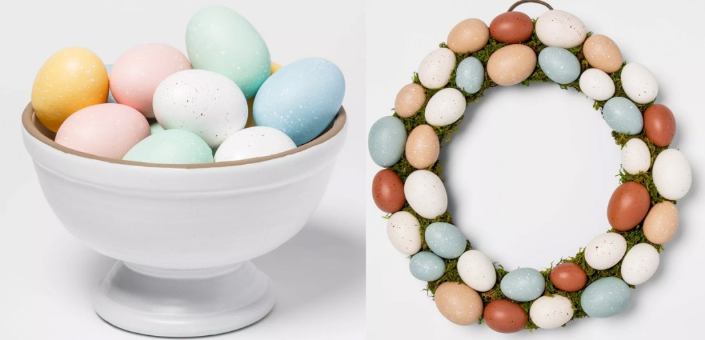 white bowl of pastel colored eggs and wreath with pastel colored eggs on it