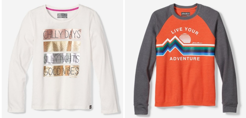 Eddie Bauer girls and boys long-sleeve tees