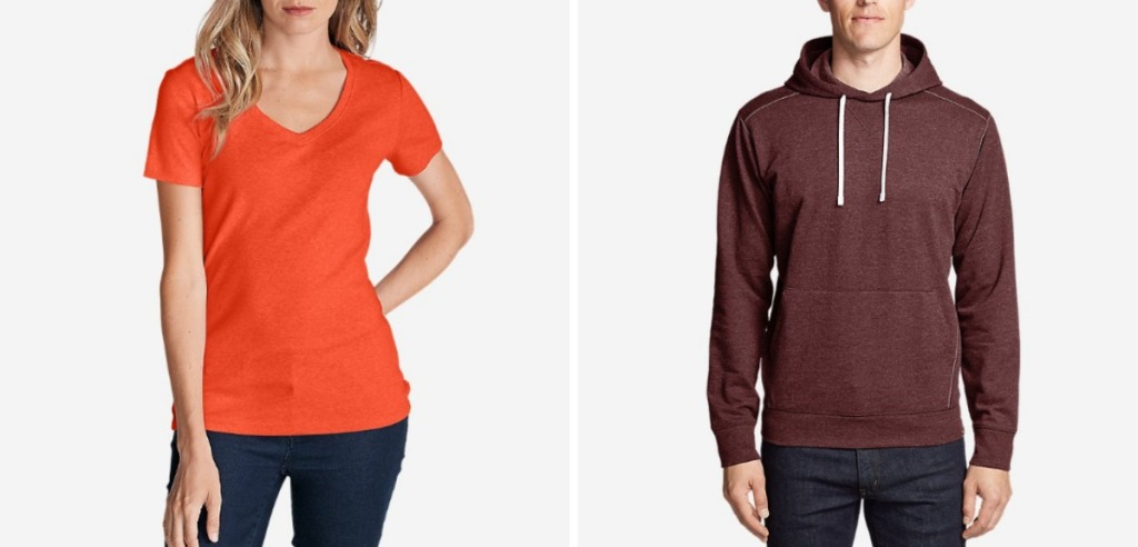woman wearing orange v-neck t-shirt and man wearing burgundy hoodie