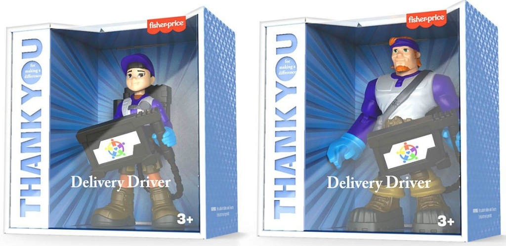 Two delivery driver figures in packaging