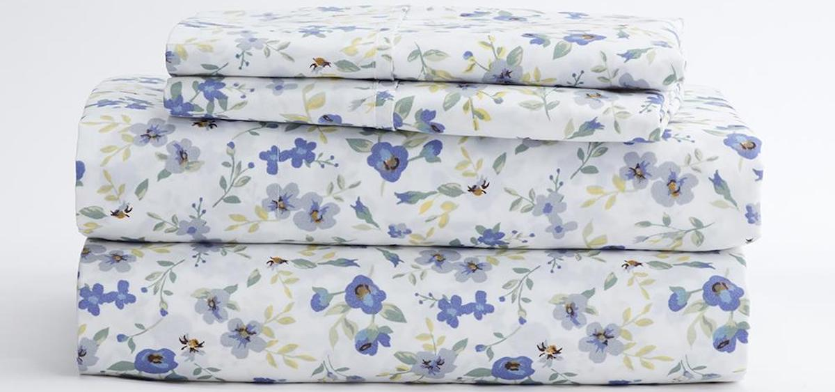 stack of sheets with a floral design