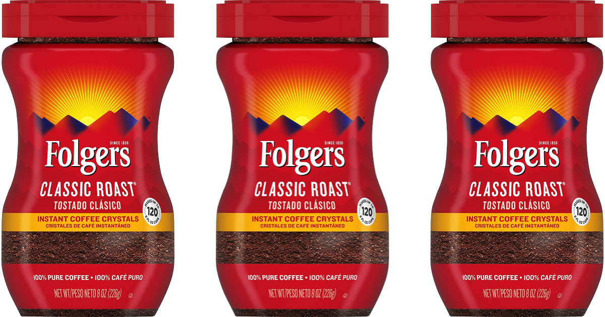 three containers of Folgers Instant Coffee Crystals