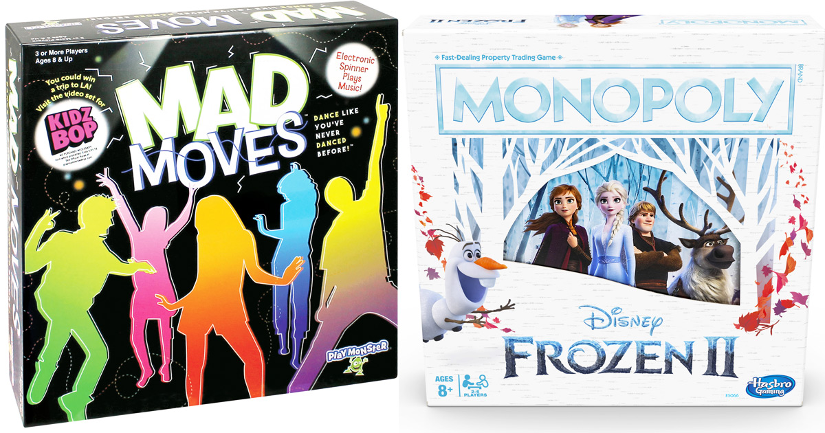 mad moves board game box and monopoly frozen 2 edition