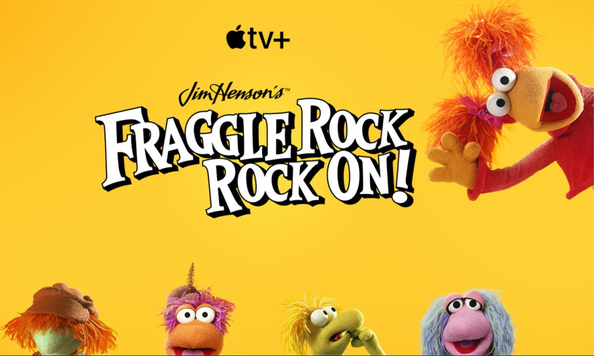 Fraggle Rock TV show artwork with logo, characters, and yellow background