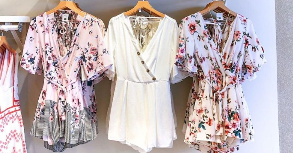 womens rompers hanging up at store