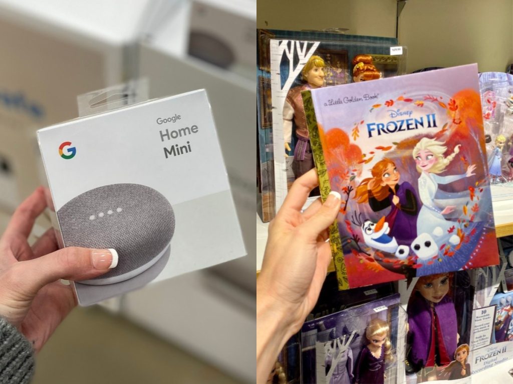 manicured hand holding Google Home Mini in box in store aisle and manicured hand holding Frozen II book in book store aisle