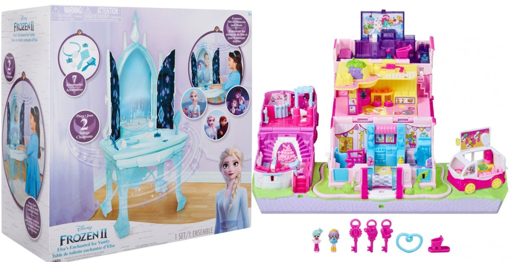 frozen 2 girls vanity and shopkins toy set