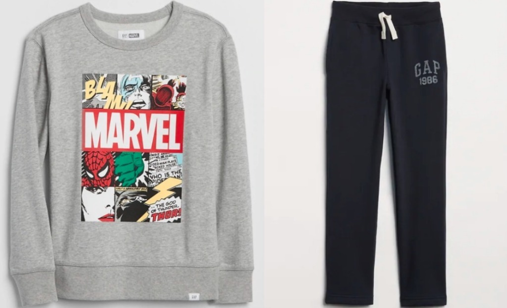 sweatshirt with Marvel characters on it next to black sweatpants