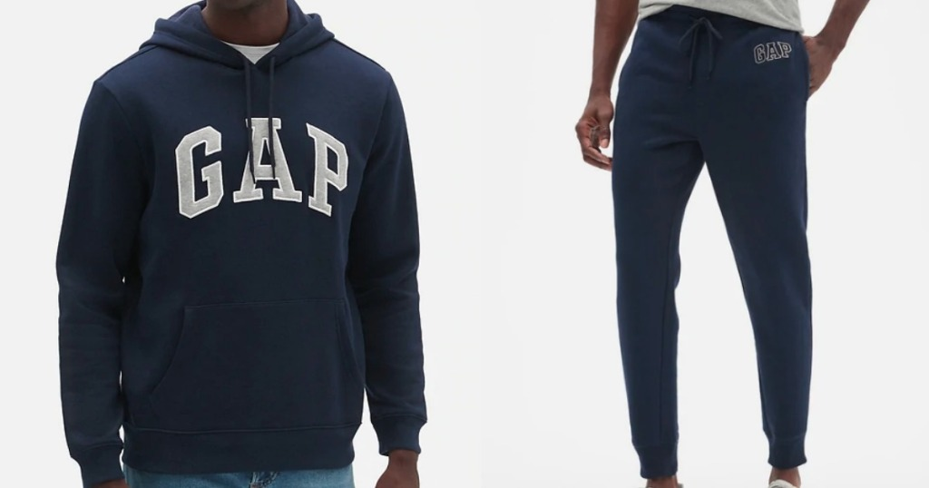 man wearing a GAP sweatshirt and pants