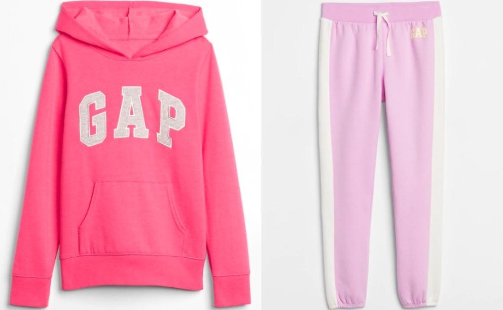 pink girl's sweatshirt next to pink sweatpants