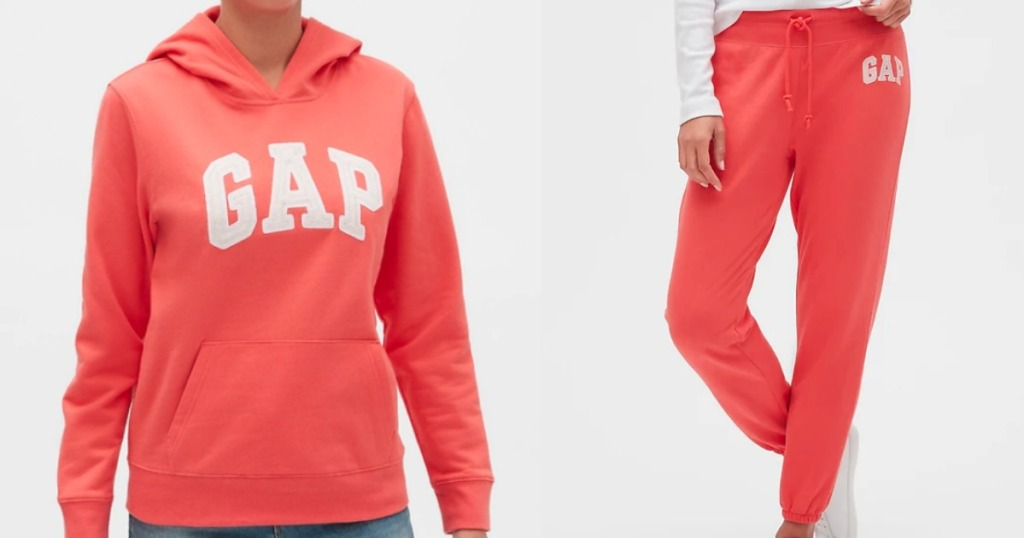 woman wearing a coral GAP sweatshirt and sweatpants