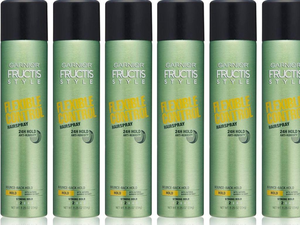 six bottles of garnier fructis hairspray