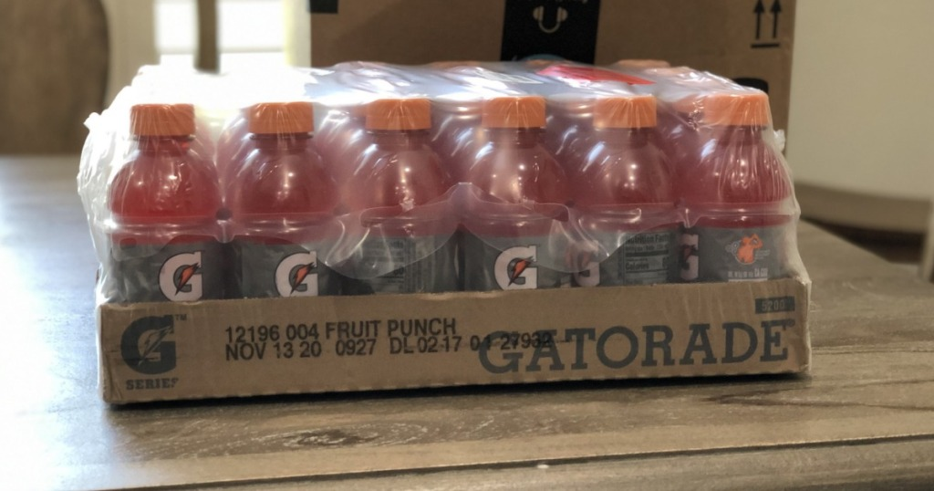 24 pack of Gatorade Fruit Punch on table