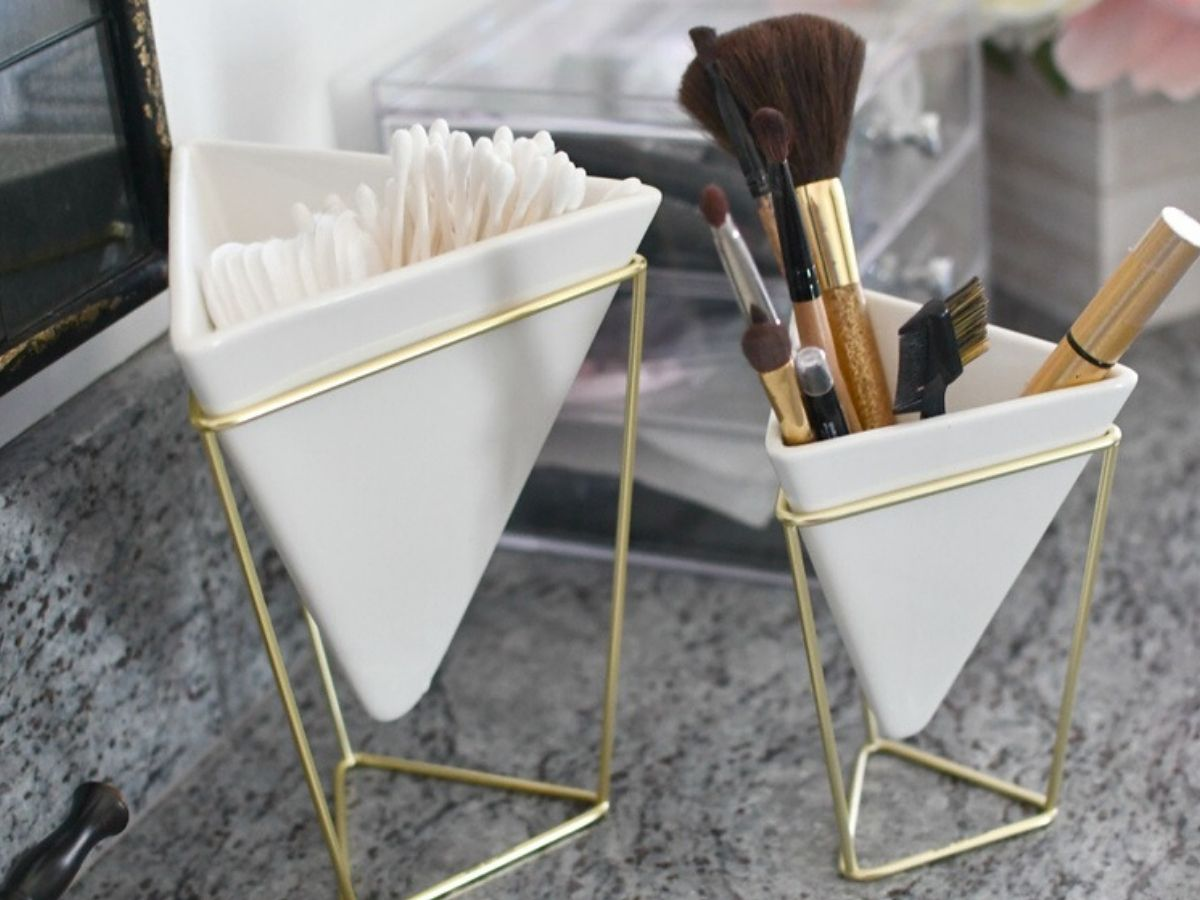 Geometric Holders with makeup brushes and Q-tips in them