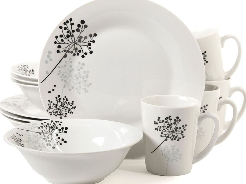 16 piece dinnerware set with plates, bowls and mugs