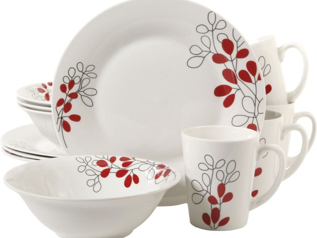 16 pieces of dinnerware including plates, bowls and mugs