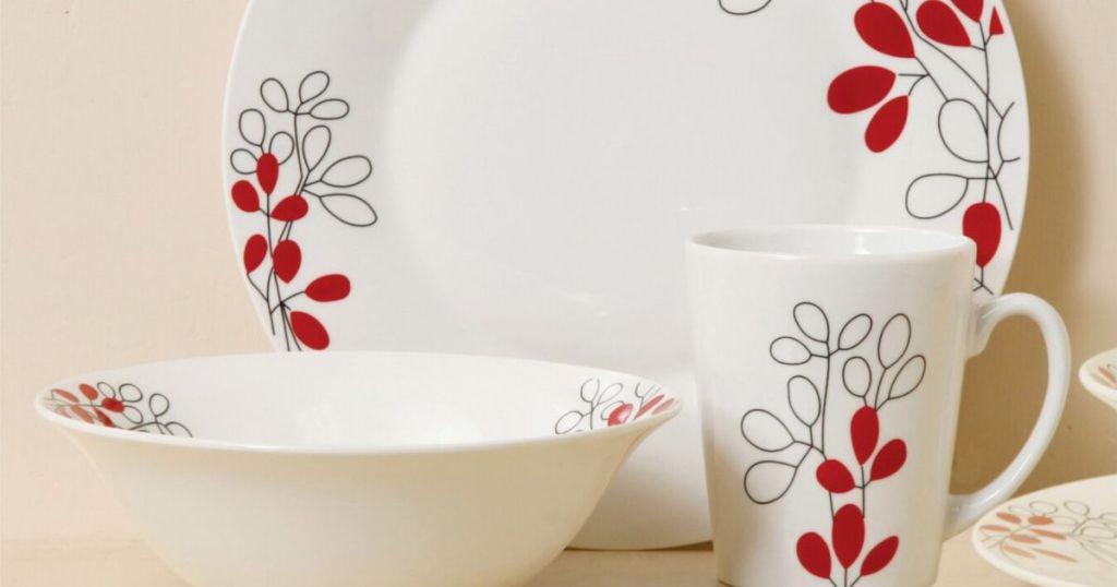 plate bowl and mug on table