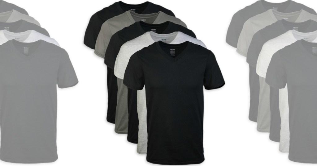 men's v-neck tees in black and gray