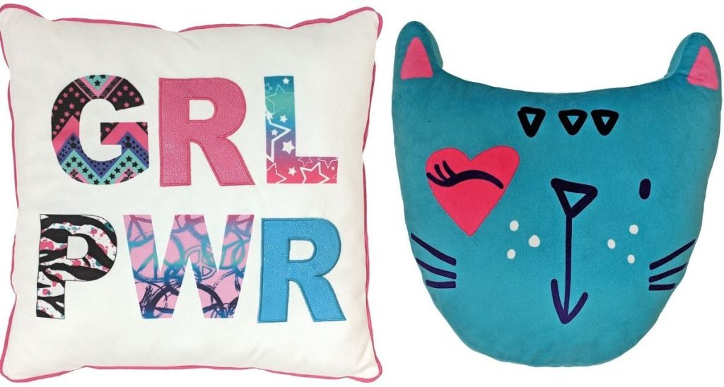 Square throw pillow and cat head shaped throw pillow