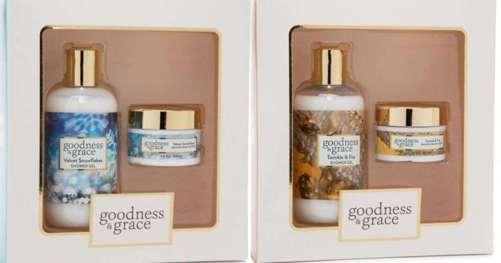 two skin care gift sets with a shower gel and body butter in each