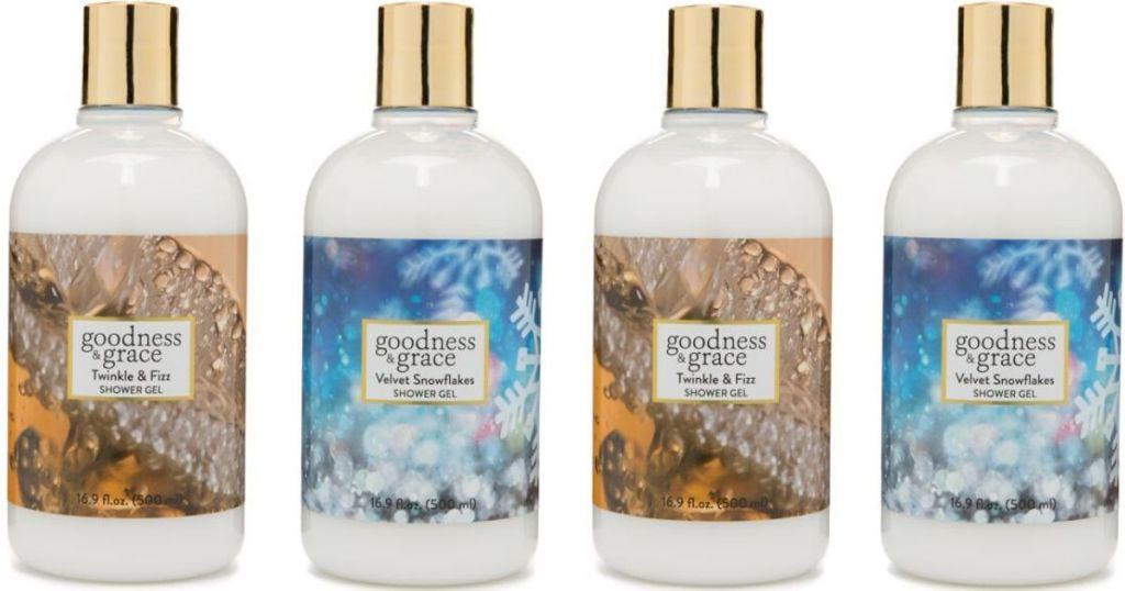 four bottles of shower gel