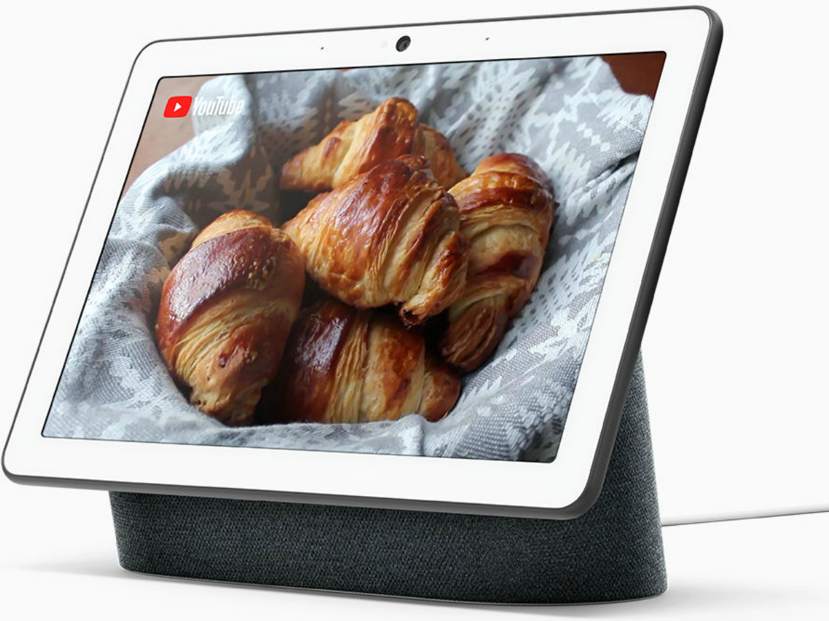Google Nest Hub with video display of croissant on YouTube