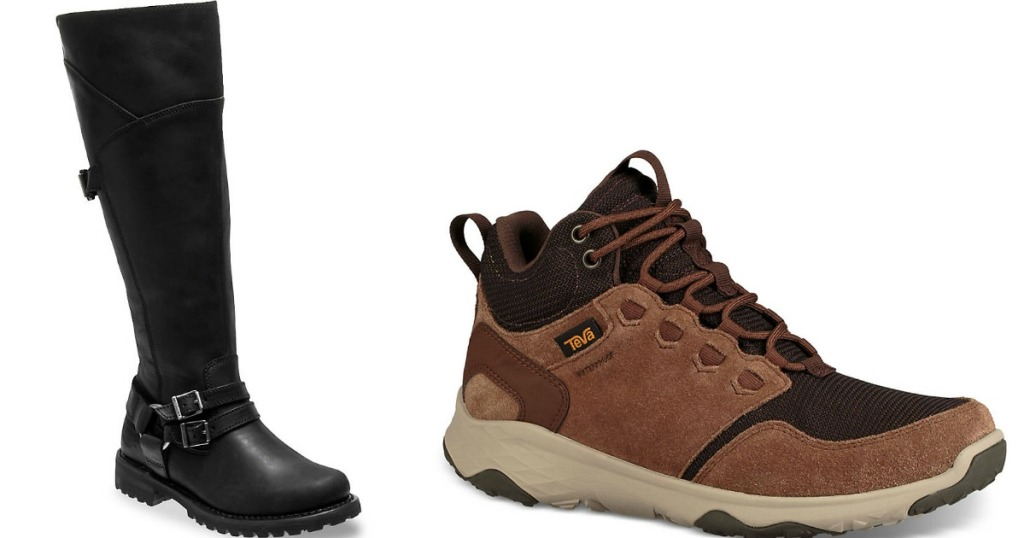 black boot and brown hiking boot