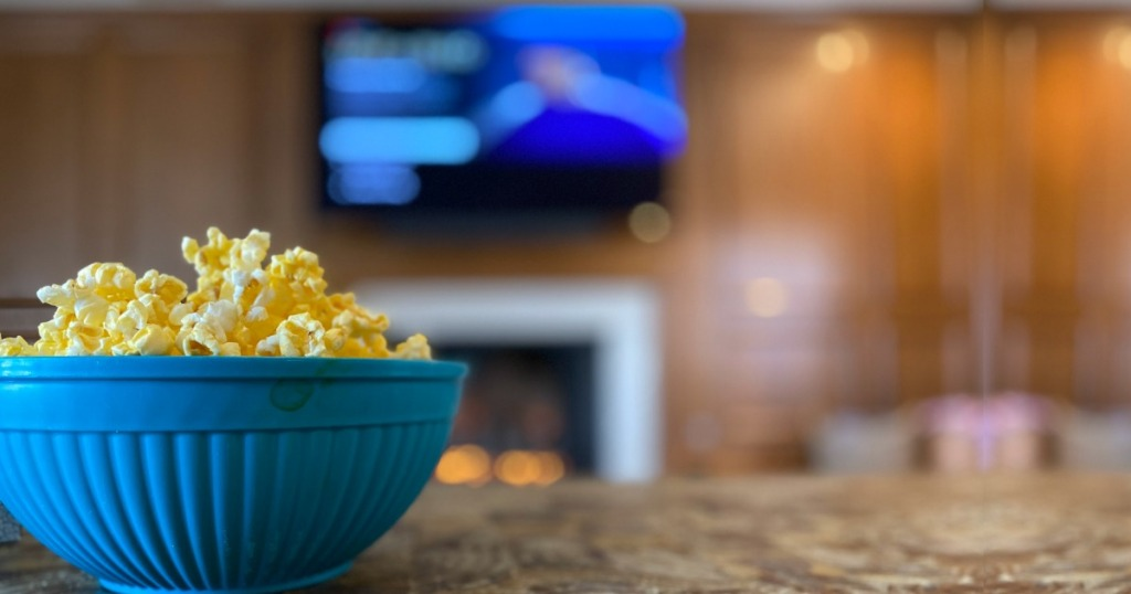 Popcorn bowl on counter in front of TV