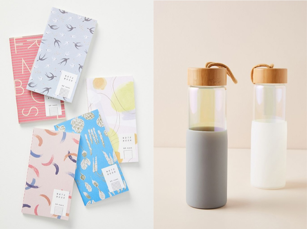various patterned notebooks and one gray bottle and one white bottle