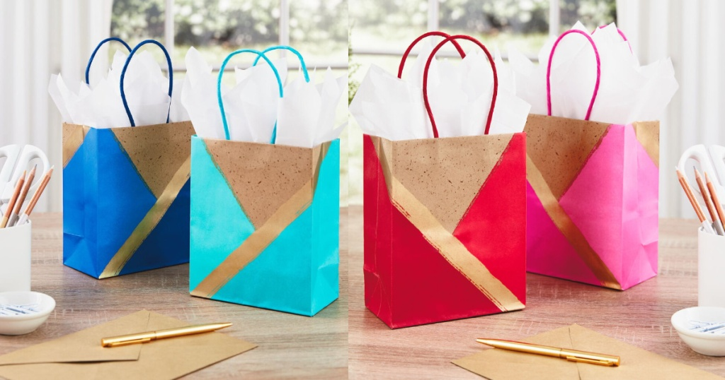 blue, light blue, red, and pink hallmark gift bags