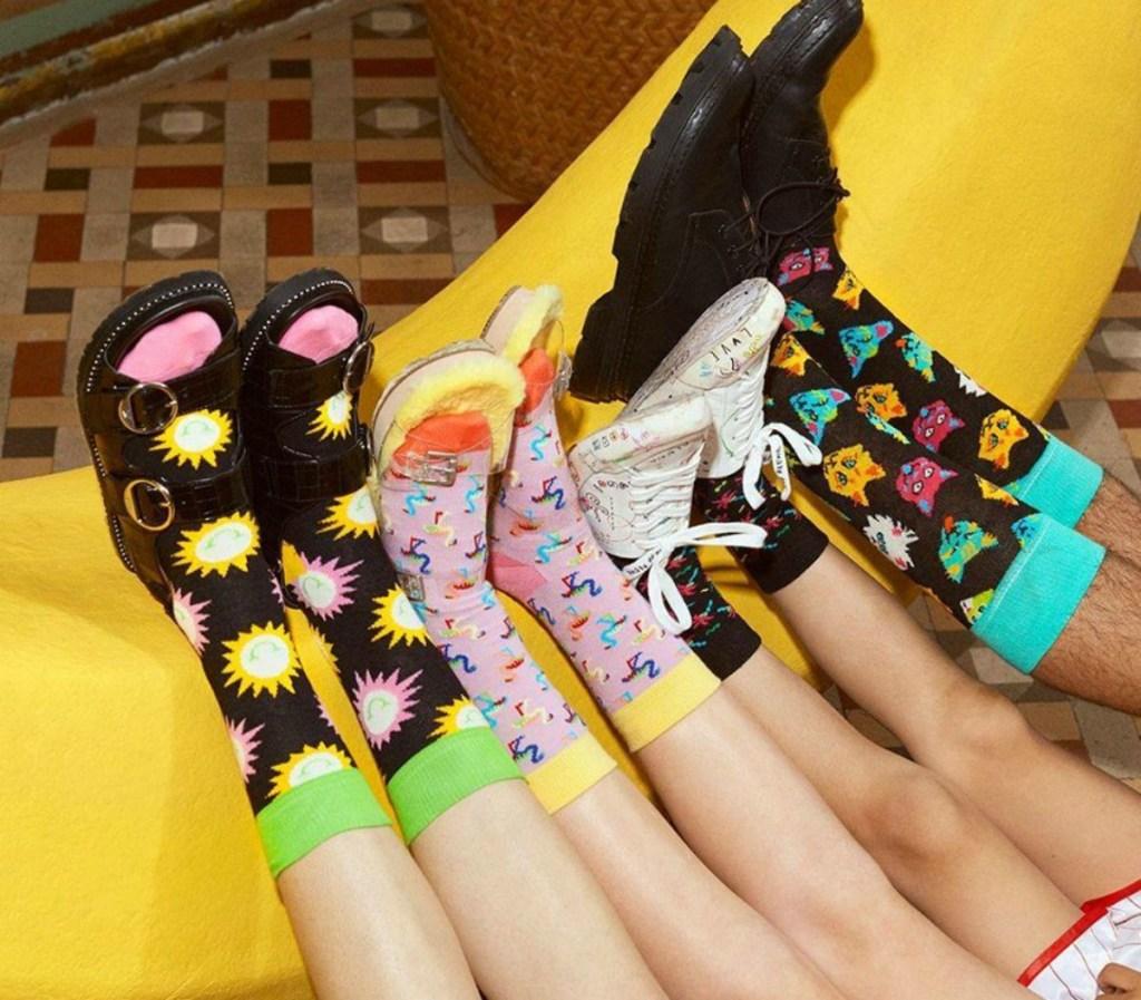 people wearing colorful socks with fun prints