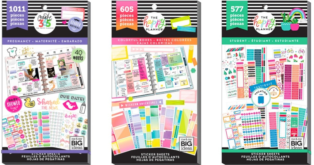 various Happy Planner Sticker Sets in a row