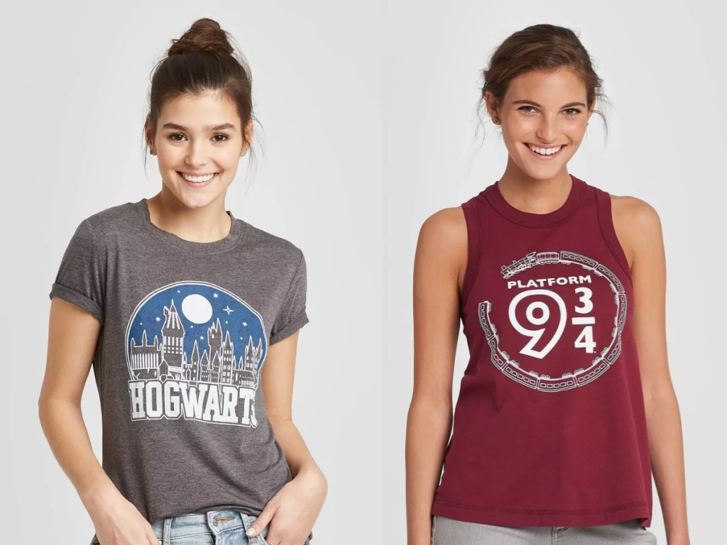 Two women wearing Harry Potter T-Shirts, one grey with hogwarts and one maroon with 9 3/4