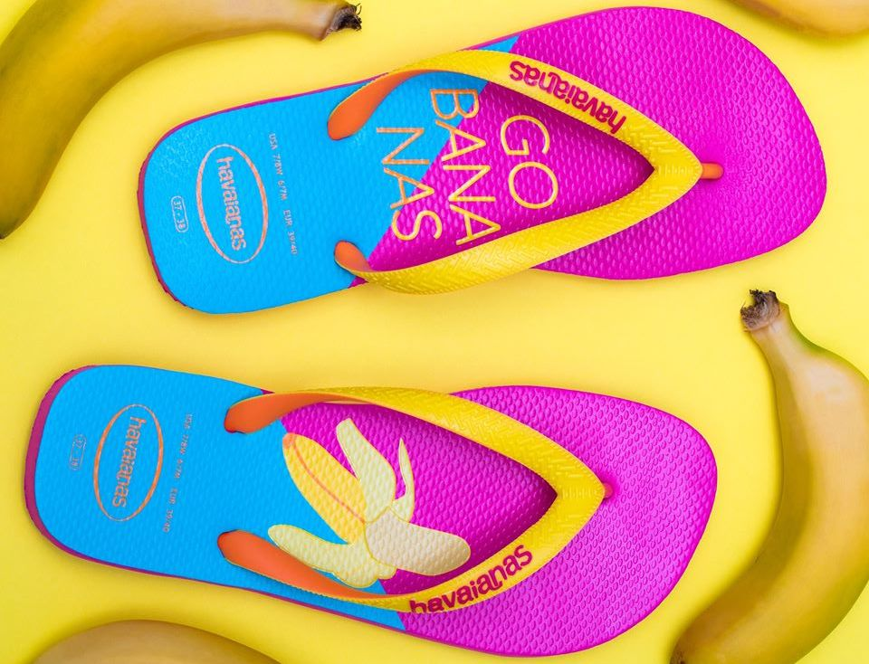 Havaianas sandals with bananas on them surrounded by bananas