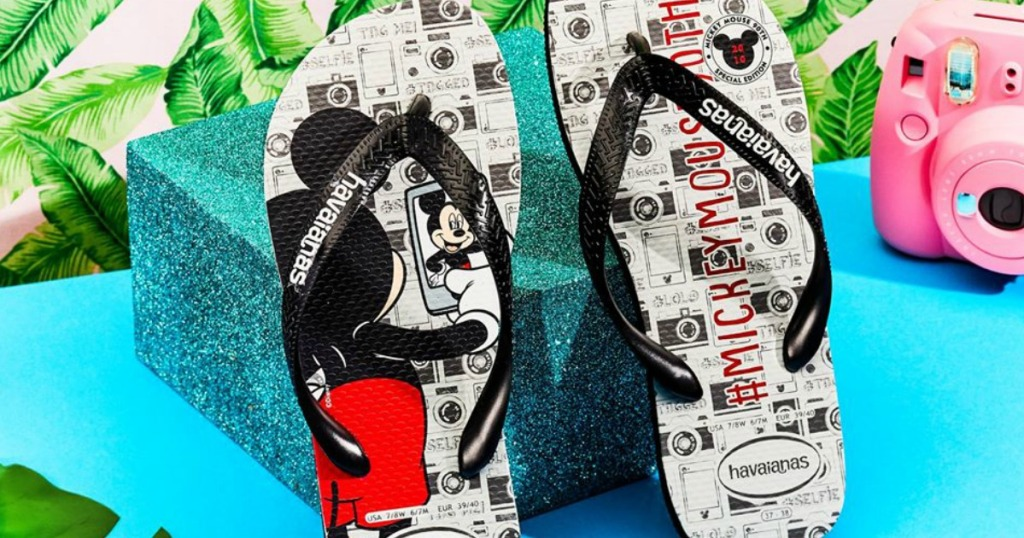 sandals with mickey mouse on them